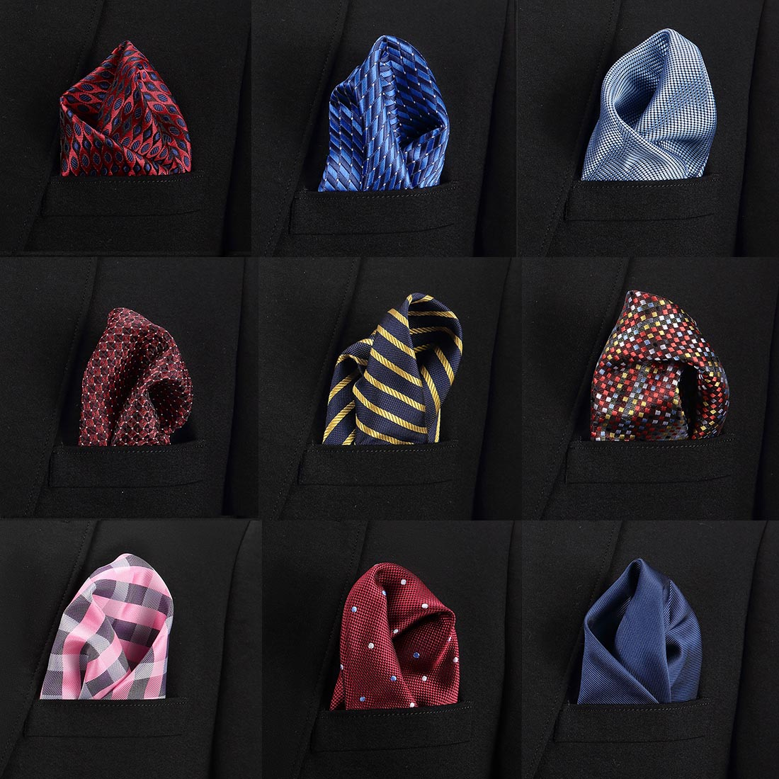 New Purple Print Luxury Pocket Square Set Formal Necktie Hankerchief  Gentleman Polyester Silk Neck Tie