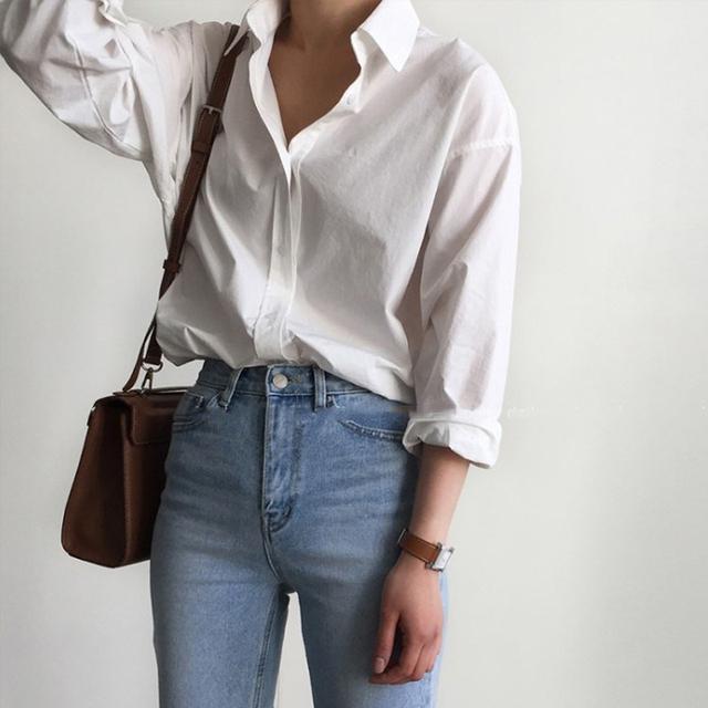 Vintage Single-breasted Solid Women Blouse 4
