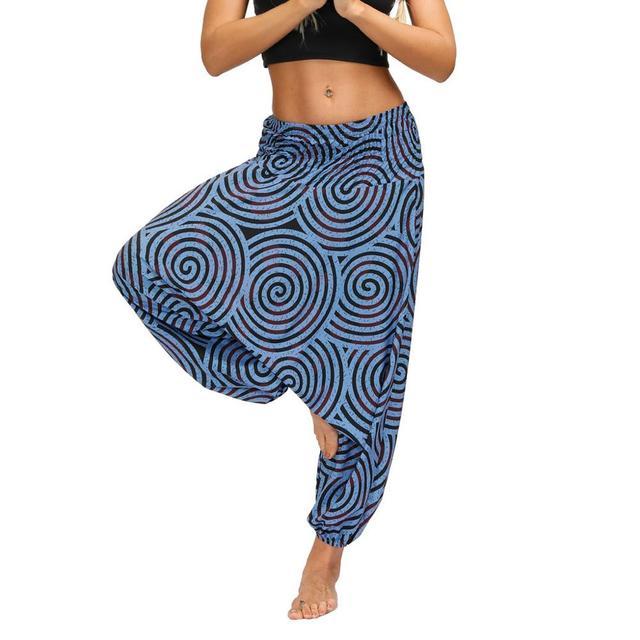 Ladies Boho Harem Pants Blue Circles 18