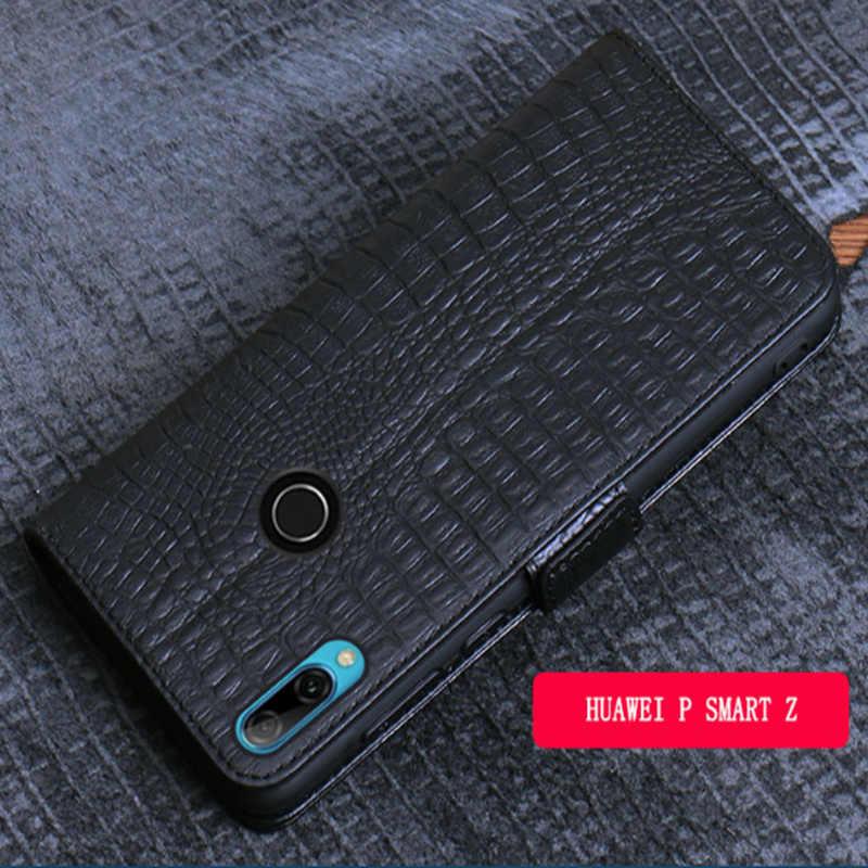 Iş hakiki deri yan manyetik toka cüzdan telefon kılıfı kart tutucu Huawei P akıllı için Z/Huawei P akıllı flip case çapa