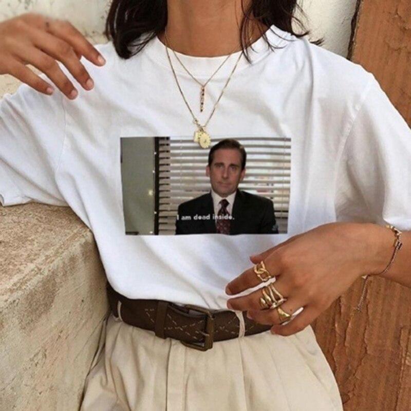 T-Shirt Unisex Tumblr Grunge Fashion Casual T-Shirt Summer I Am Dead Inside Quote Funny T-shirt Office Michael Scott