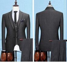 2019 Latest Coat Pant Designs Dark Grey Tweed Suit Men Slim Fit Formal Wedding Suits For 3 Pieces Mens Classic Ternos