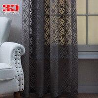 Sólido branco tule cortinas para a sala de estar moderna geométrica tecido decorativo quarto tratamentos janela singel painel