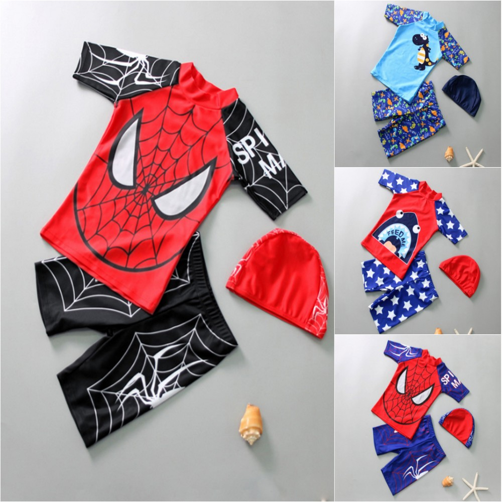 2-10Y Kids Boy Swimsuit 3pcs Children Swimwear With Cap UV UPF50+ Long Sleeve Rash Guard Swimming Suit Driving Suit Swimsuit
