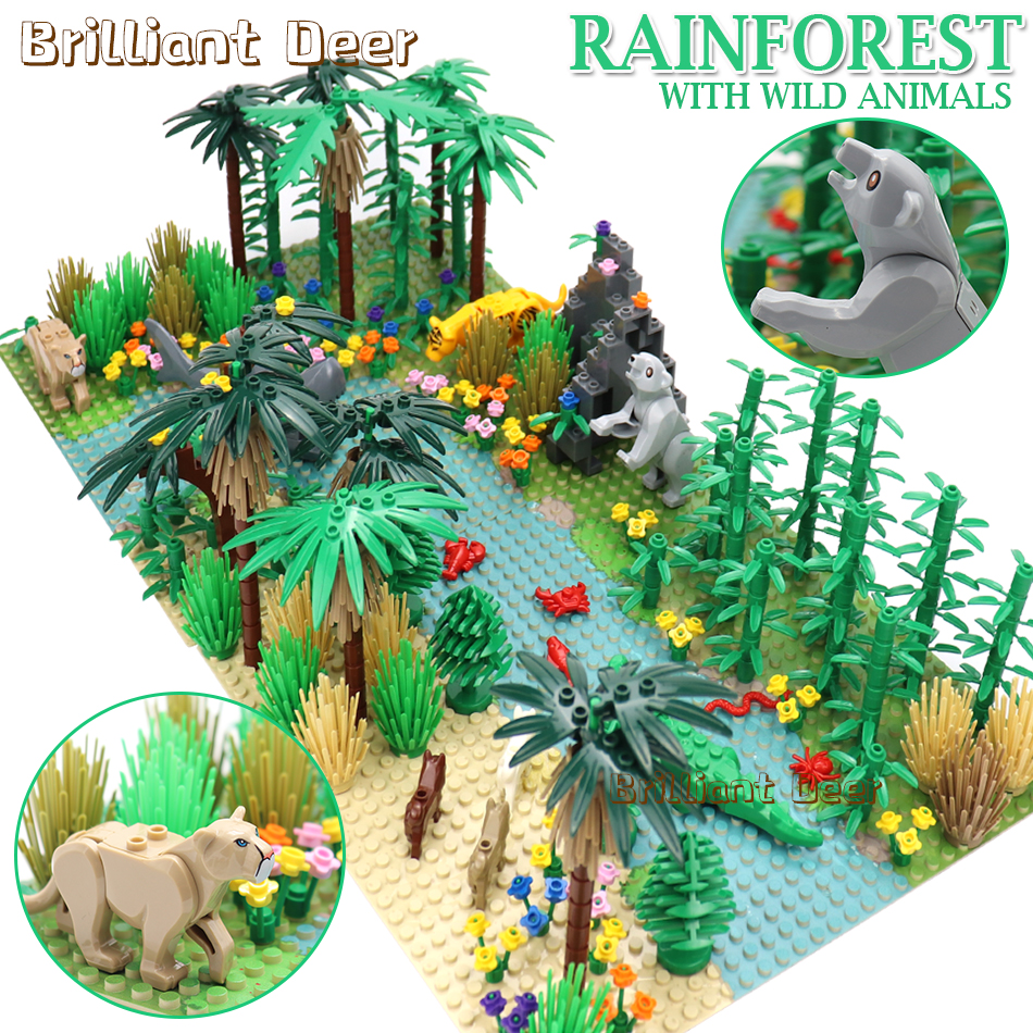 Rainforests Model City Bush Flower Grass Tree With Animals Base Plate DIY MOC Parts Compatible Legoed Friends Building Blocks