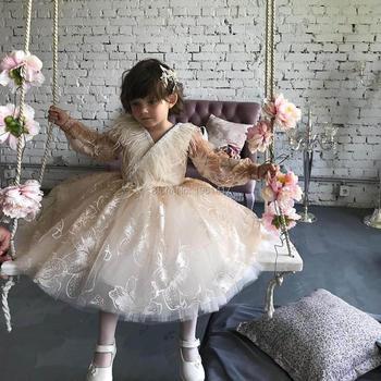 My Baby 1st First Birthday Dresses for Girls Christening Baptism Beige Princess Tutu Formal Dress Ball Gown Toddler Vestido