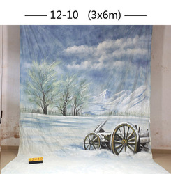 Customized 10x20ft snow scenic hand painted Muslin backdrops photography wedding,winter photo studio backgrounds portrait
