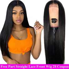180% Long Lace Front Human Hair Wigs Pre plucked Remy Free Part Brazilian Straight Lace Front Wig With Baby Hair For Black Women(China)