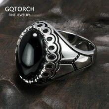 Véritable solide 925 en Argent Sterling anneaux Antique turquie anneaux grand avec pierres naturelles pour hommes femmes turc bijoux Bague Argent