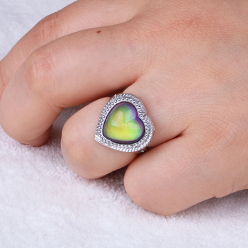 Silver color retro Adjustable mood Rings for Women temperature control color heart oval round butterfly  Fashion Jewelry 2020 2