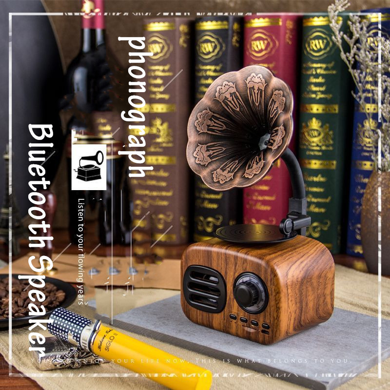 Drop Shipping Retro Phonographen Wireless Freisprechen FM Radio Lautsprecher Boombox Subwoofer Bluetooth Lautsprecher Caixa De Som Altavo