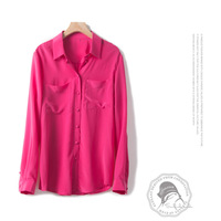 silk blouses shirts for women high quality pink cardigan long sleeve plus size casual sexy office clothes 2020 summer free ship