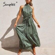 Simplee-Vestido largo de tirantes con cuello halter, vestido largo Vintage verde sin mangas, vestido de vacaciones elegante para primavera y verano 2020
