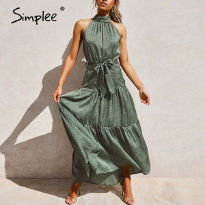 Simplee Sexy halter neck sleeveless dress Vintage green long maxi holiday dress Spring summer party sash elegant 2020 vestidos