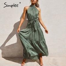 Simplee סקסי הלטר צוואר שרוולים שמלת וינטג ירוק ארוך מקסי חג שמלת אביב קיץ המפלגה אבנט אלגנטי 2020 vestidos