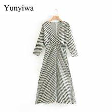 New Women Autumn V Neck Striped Print Hem Split Midi Dress Female Buttons Irregu