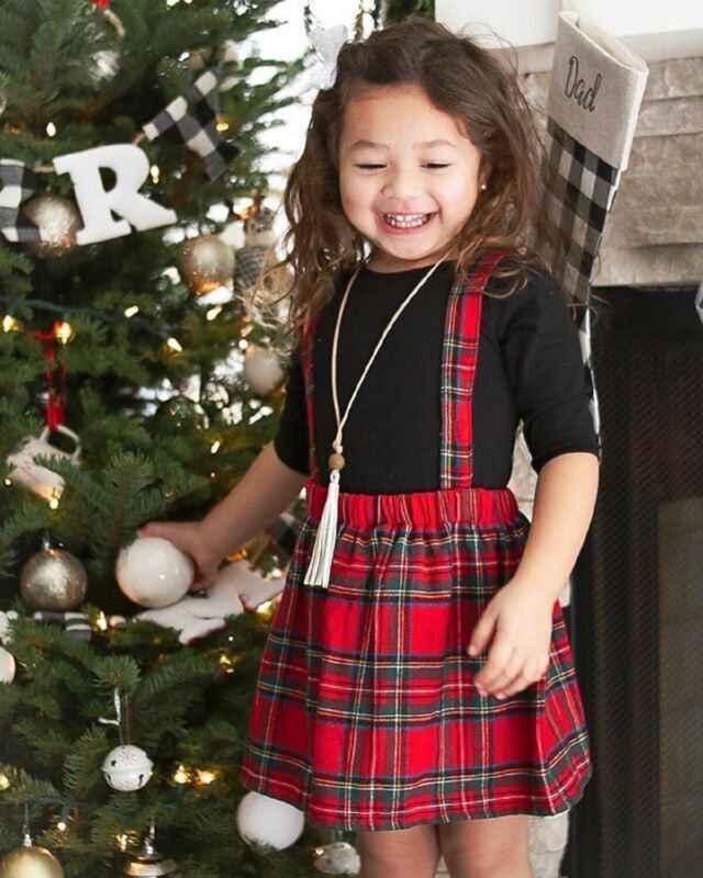 2019 marca bebé niña hermana/hermano juego de Navidad mono Sling vestido Unisex mono a cuadros Navidad outfits