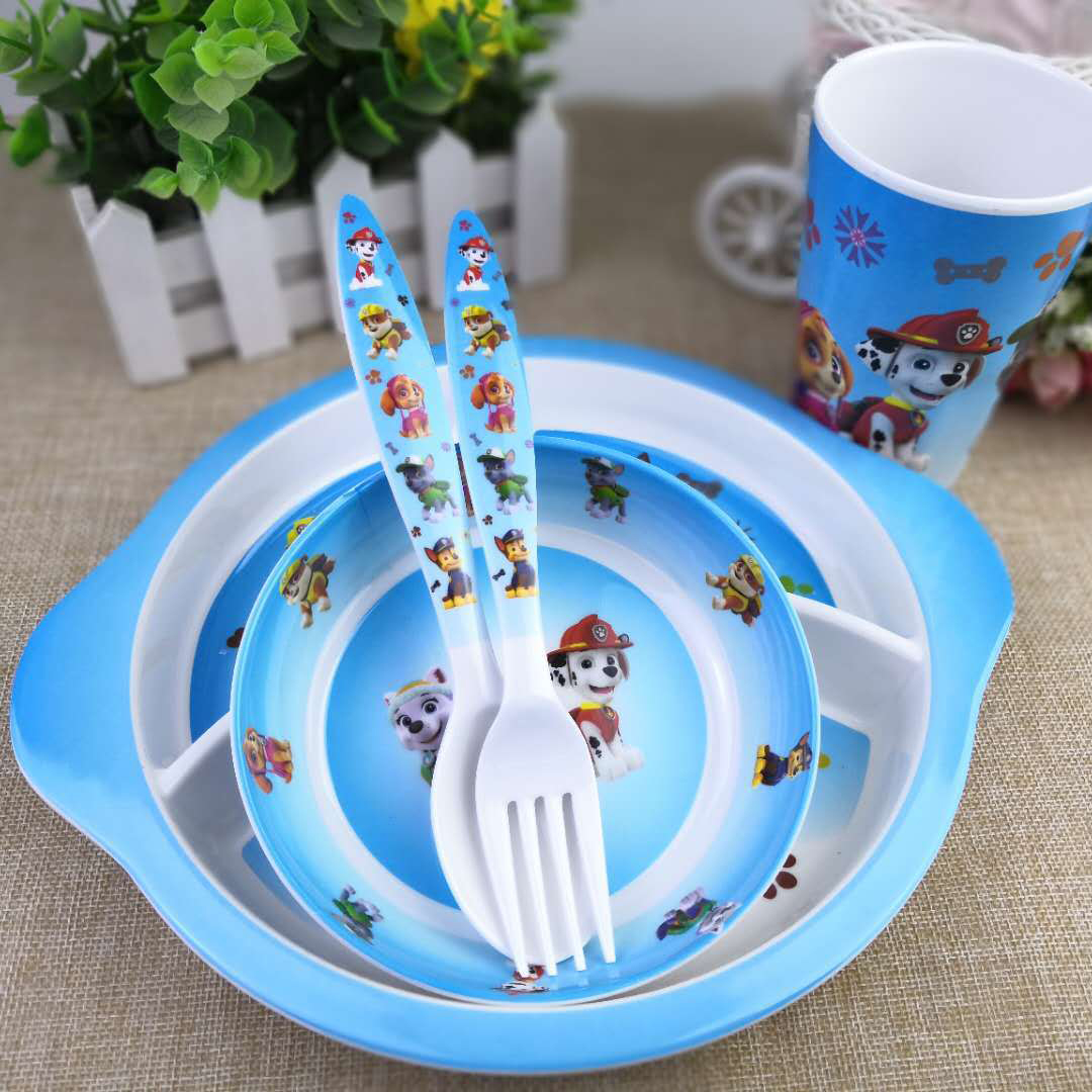Paw Patrol Children's Tableware Kitchen Restaurant Tools Healthy Material Melamine Bowl Plate Knife Fork Tablewares For Party