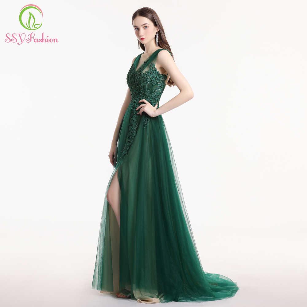אישור ירוק תחרה שמלת ערב סקסי לטאטא רכבת ללא שרוולים אפליקציות ואגלי גבוהה-פיצול המפלגה לנשף שמלת Robe De Soiree