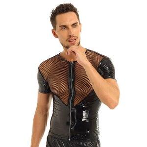 Image 3 - iiniim Mens Wetlook Punk Clubwear Patent Leather Fishnet Splice Short Sleeve Shirt Tops Clubwear Stage Night Costumes T shirt
