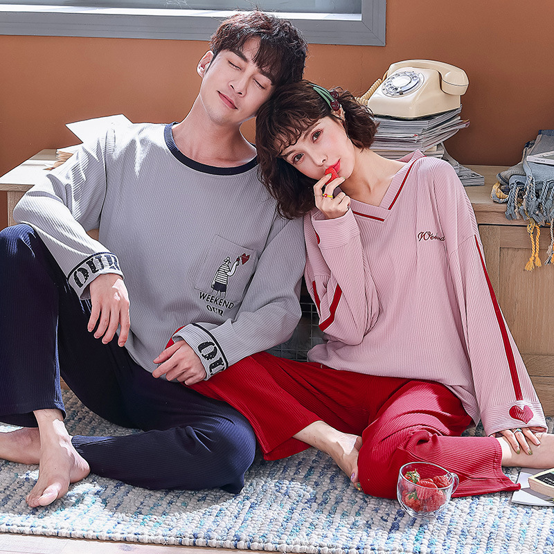 Couple Pajamas Spring And Autumn Casual Comfortable Home Service Suit Cotton Long-sleeved Men's Suit Spring Cute Ladies Two-piec