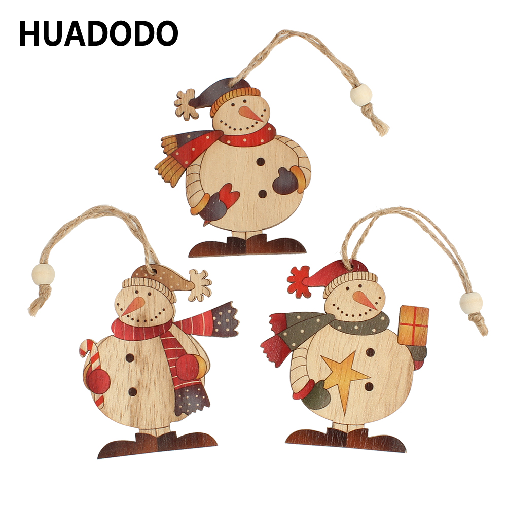 HUADODO 3Pcs Snowman Christmas Pendants Ornaments Wooden Craft For Christmas Tree Decoration Party New Year Decor Kids Gift