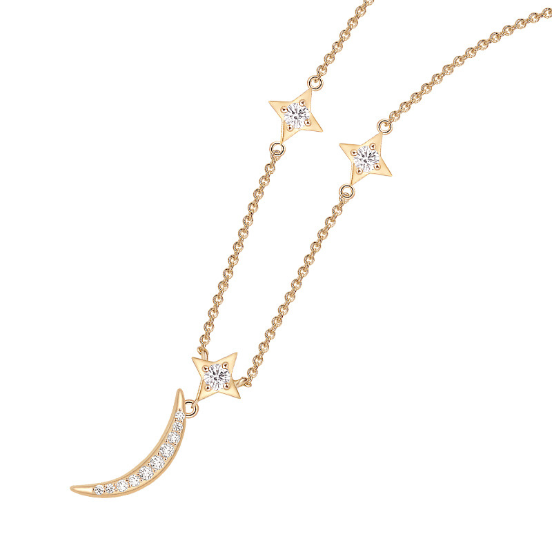 925 Sterling silver Gorgeous Dazzling crystal Star Moon Choker Charm Gold geometric gem stone Necklace Adjustable chain jewelry