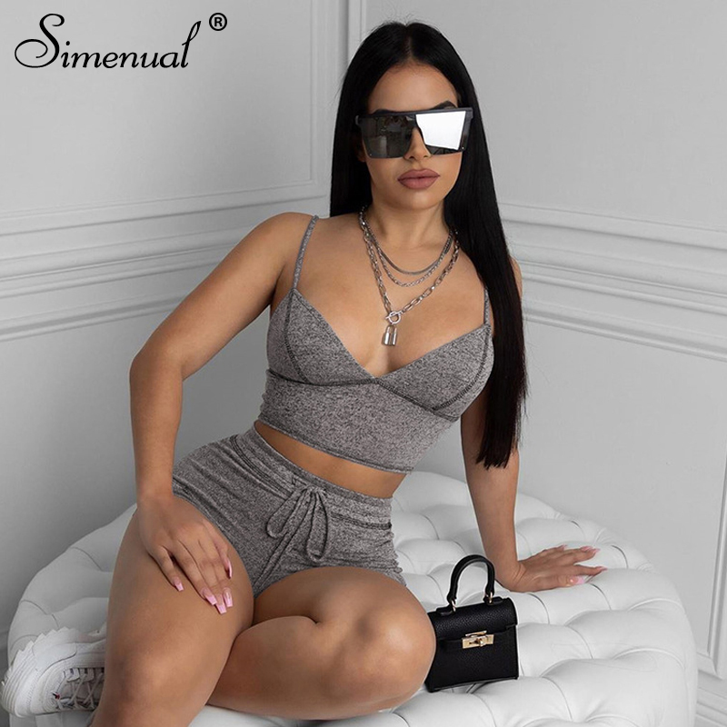 Simenual V Neck Sporty Workout Women Two Piece Sets Casual Sleeveless Fashion 2020 Outfits Slim Tank Top And Shorts Matching Set
