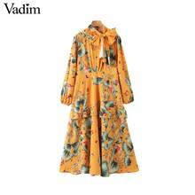 Vadim 여성 패션 플로랄 패턴 미디 드레스 긴 소매 나비 넥타이 여성 캐주얼 세련된 노란색 드레스 vestidos qd197 장식