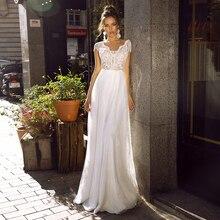 Eightale Bohemian Wedding Dresses Beach Appliques Lace Wedding Gowns Backless Cap Sleeves Bridal Dress Vestidos De Novia  2020