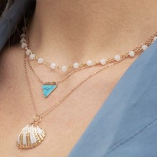 Bohemian Multilayer Necklace Triangle Blue Turquoises Stone Handmade Choker for Women Shell Pendant Necklace Party Jewelry(China)