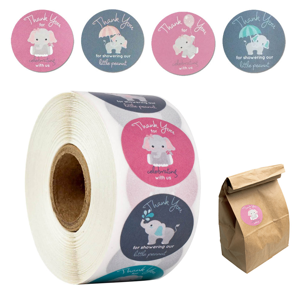 500pcs cartoon elephant thank you sticker for celebrating with us 8 kinds of labels sticker for enve