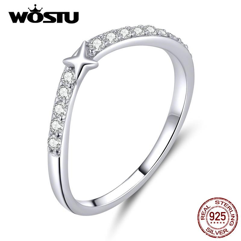 WOSTU Flashing Star Ring 925 Sterling Silver Sparkling Zircon Ring Finger For Women Wedding Engagement Female Jewelry CTR112
