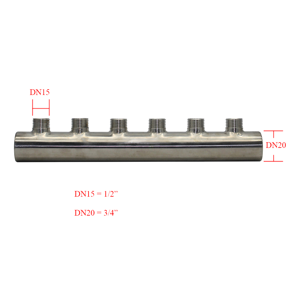 3/4*1/2  Stainless Steel Water Distribution Manifold For Underfloor Heating System(2-12 Port)  One End Open One End Closed