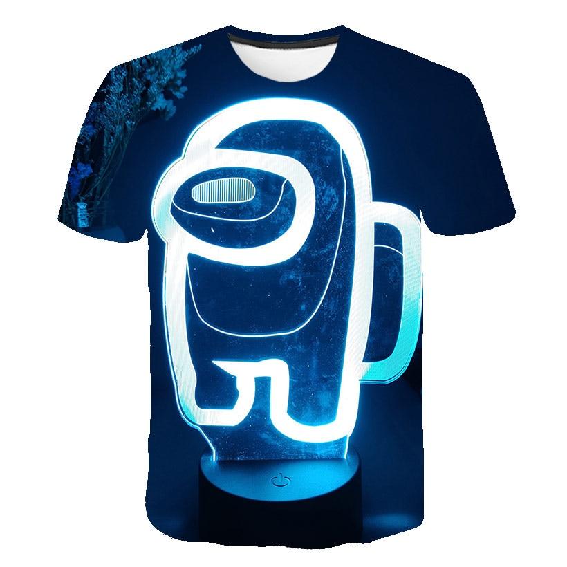 Meninos entre nós jogo tripulação 3d t camisa crianças dos desenhos animados camiseta engraçado para meninas criança tshirts crianças roupas topo 4t-14t para crianças