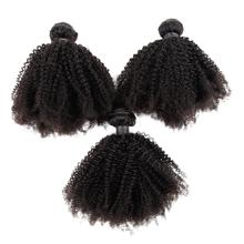 Mongolian Afro Kinky Curly Hair 4B 4C Weaves 3/4Pcs Remy Human Bundles Natural Color Extension Zing Silky