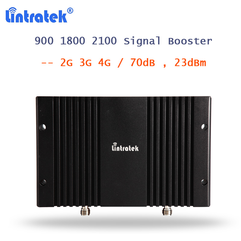 Lintratek высокий коэффициент усиления 900 1800 2100 МГц Мобильный усилитель сигнала 2G 3g 4G LTE Amplificador B3 B1 ретранслятор сигнала agc MGC репитер 70dB ALC 23dBm S26