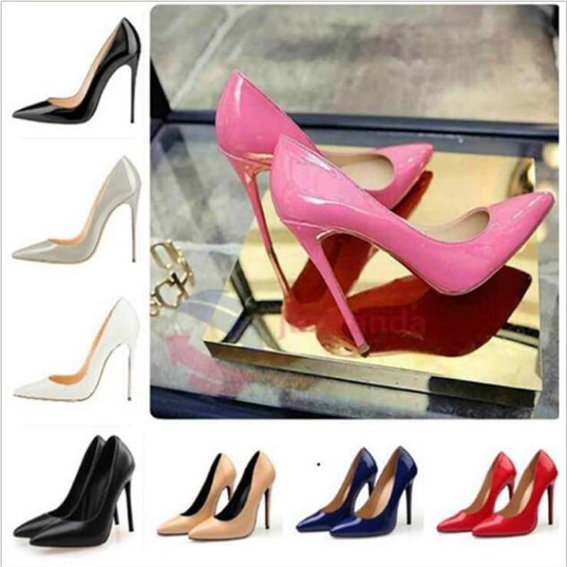 Drop Ship Woman High Heels Pumps 11cm Tacones Pointed Toe Stilettos Talon Femme Sexy Ladies Wedding Shoes Black Heels