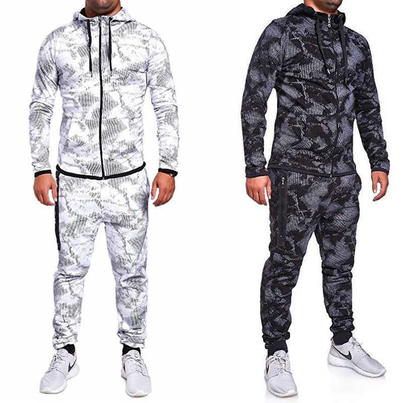 Nuevo 2019 3D chándal estampado hombres ropa interior térmica hombres 2 piezas conjunto cremallera Sudadera con capucha + Pantalones traje deportivo 3xl Malechandal hombre