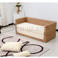 1PC Small Apartment Living Room Rattan Sofa Double Rattan Sofa Bed Foldable Rattan Furniture Folding Double Form Sofa Bed