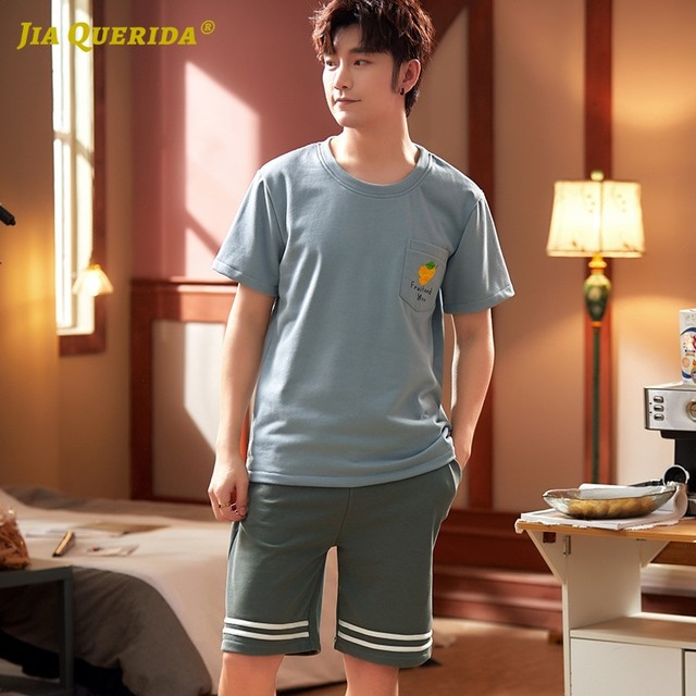 New Short Sleeve Short Pants Sleepwear Man Clothes Pyjamas Man Crew Neck Button Front Pocket Man Pajamas Man Sports Style 1