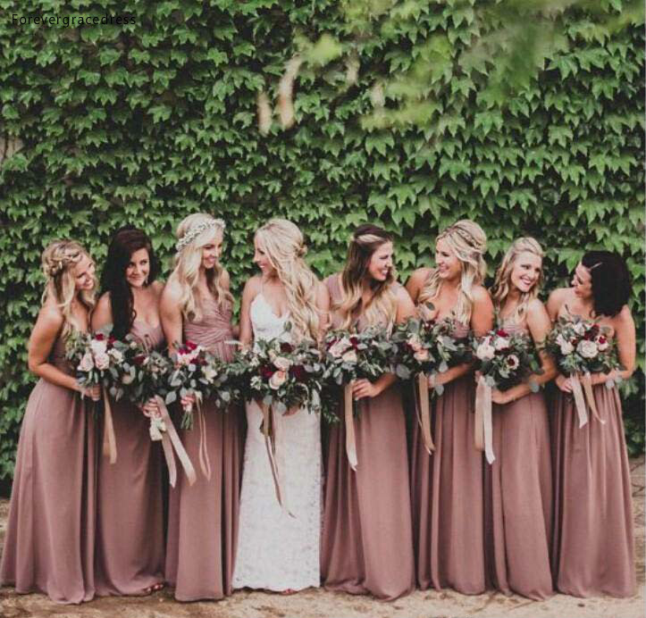 2019 Dusty Rose Pink Bridesmaid Dress Sweetheart Pleated Country Garden Formal Party Guest Maid Of Honor Gown Plus Size