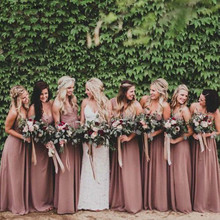 2019 Dusty Rose Pink Bridesmaid Dress Sweetheart Pleated Cou