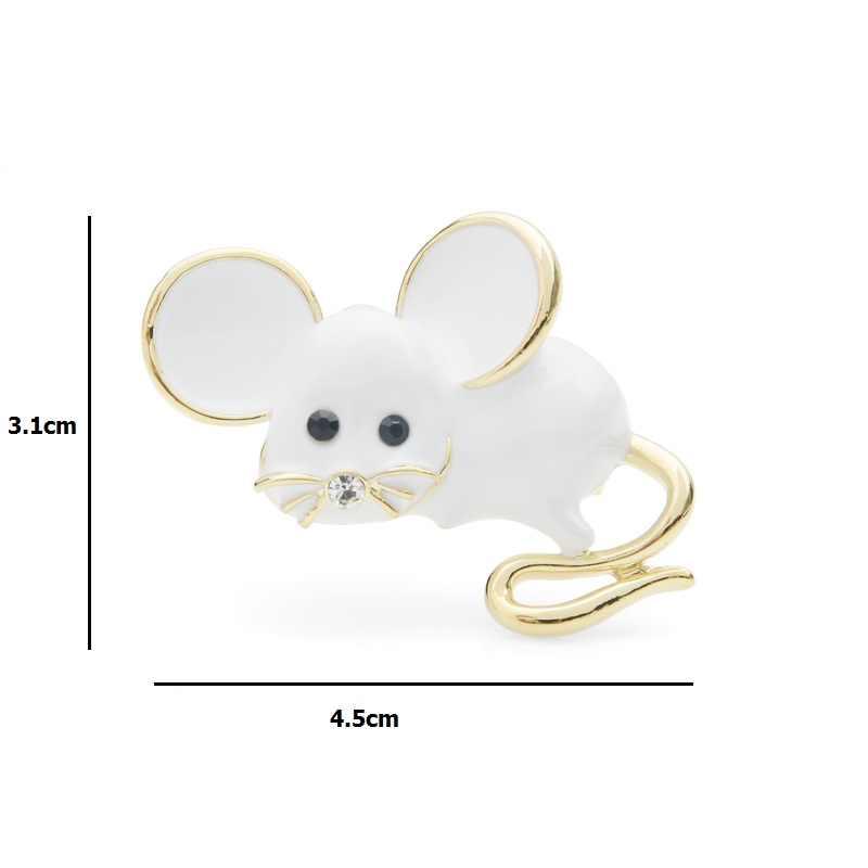 Wuli & del bambino Grande Orecchio Cute Mouse Spilla Spilli Per Le Donne e Gli Uomini Bianco Mouse Regalo 2019 di Nuovo Modo Spille gioielli