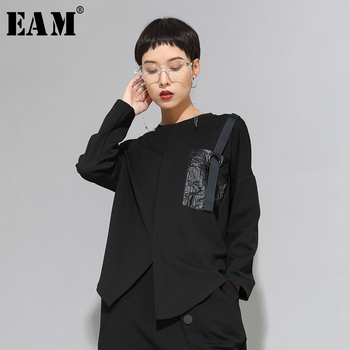 [EAM] Women Black Buckle Stitch Big Size Asymmetrical T-shirt New Round Neck Long Sleeve Fashion Tide  Spring Autumn 20211D679 - discount item  32% OFF Tops & Tees