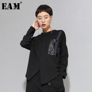 Image 1 - [EAM] ผู้หญิงสีดำหัวเข็มขัดStitchขนาดใหญ่ไม่สมมาตรเสื้อยืดใหม่รอบคอแฟชั่นแขนยาวฤดูใบไม้ผลิฤดูใบไม้ร่วง20201D679