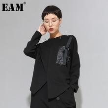 [EAM] Women Black Buckle Stitch Big Size Asymmetrical T shirt New Round Neck Long Sleeve Fashion Tide  Spring Autumn 20201D679