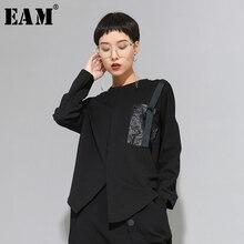 [Eem] kadınlar siyah toka dikiş büyük boy asimetrik tişört yeni yuvarlak boyun uzun kollu moda gelgit bahar sonbahar 20201D679