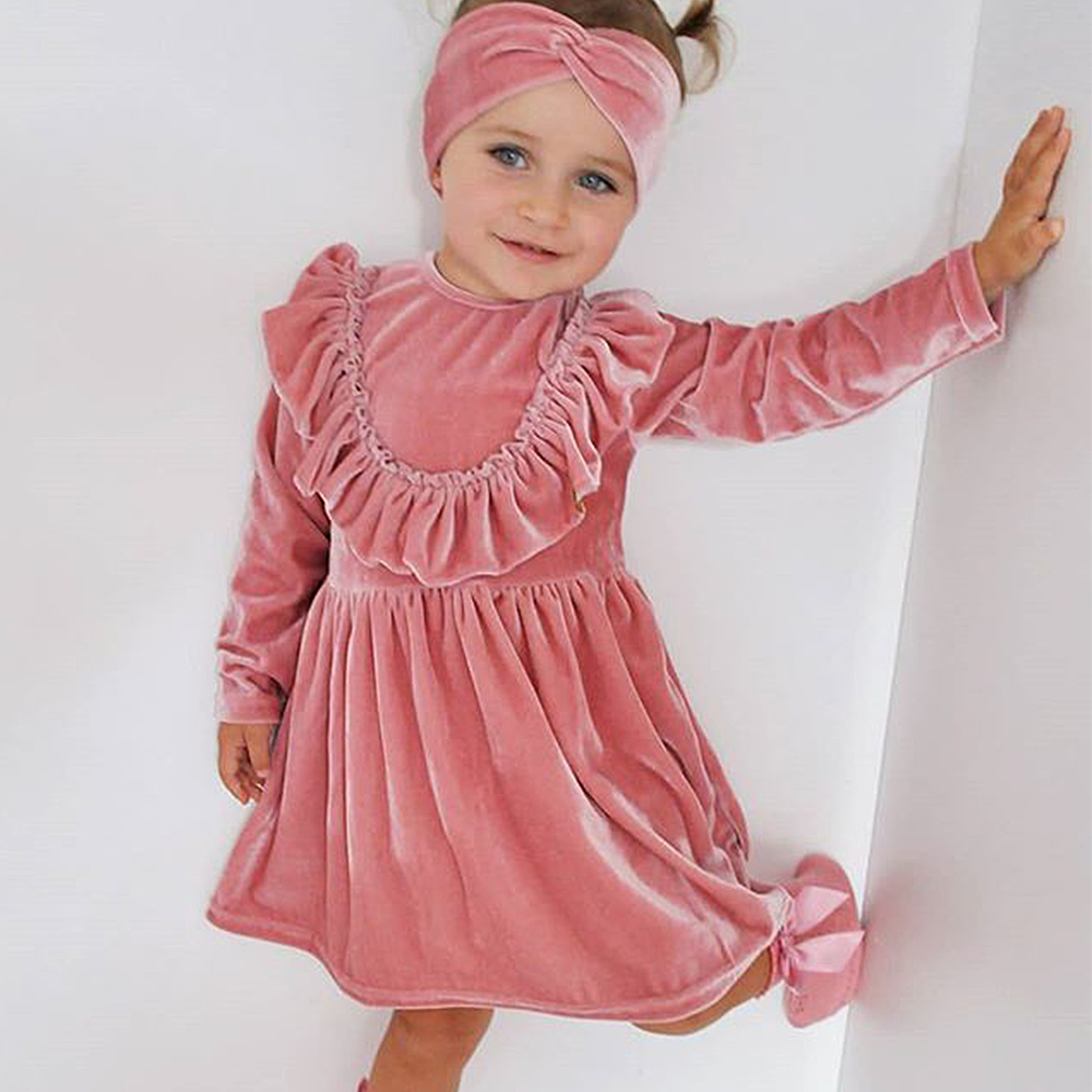 Cute Toddler Kids Baby Girls Christmas Xmas Princess Party Dress Fleece Outfits