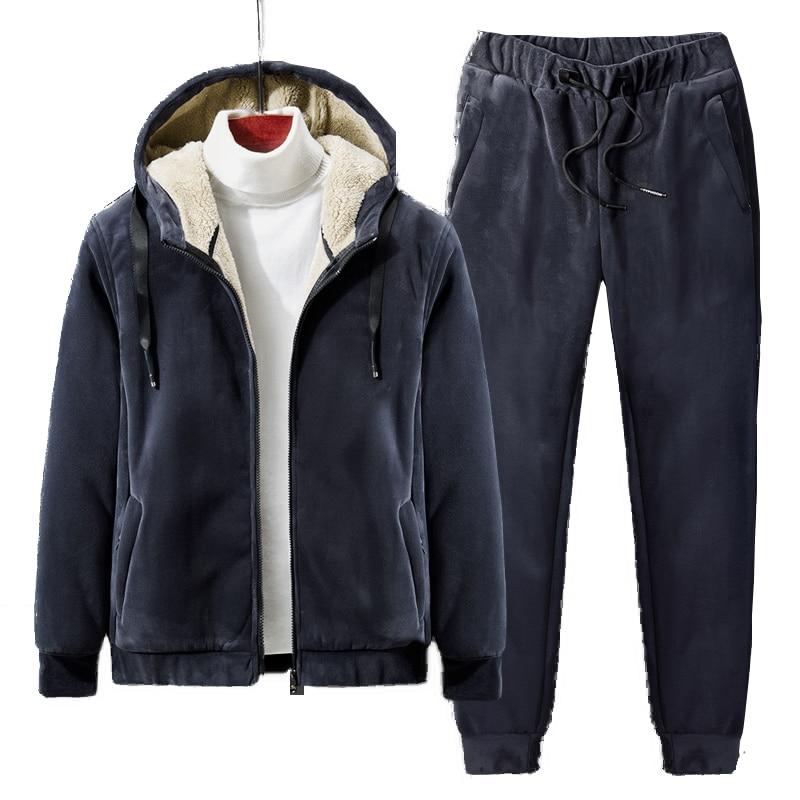 Winter Fleece Tracksuits Men Sets Thick Hoodies+Pants Suit Zipper Hooded Sweatshirt Sportswear Set Male Hoodie Sweatsuits 4XL